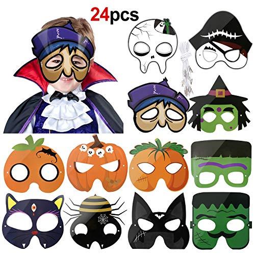 Howaf 24 Stück Halloween Masken für Kinder, Geist Schädel Kürbis Papier Party Masken für Kinder, Halloween Cosplay Masquerade Zubehör, Halloween deko Kindergeburstag (Kinder Schädel Ninja Kostüm)