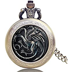 "GAME OF THRONES House Targaryen Logo Antique Bronze Effect Retro/Vintage Case Men's Quartz Pocket Watch Necklace - On 32"" Inch / 80cm Chain"