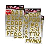 Schreibschrift Buchstaben 3cm Aufkleber für Fotobuch beschriften (Gold)