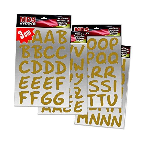 MDS Brand 3cm Buchstaben Schreibschrift Aufkleber für Fotobuch beschriften (Gold)