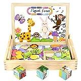 Akokie Magnetisches Holzpuzzles, Holz Würfel Puzzle, 3D-Puzzles, 9 Stück Würfel Blöcke + 123 Stük Holz Waldtiere für Jungen Mädchen 3 4 5 6 , MEHRWEG