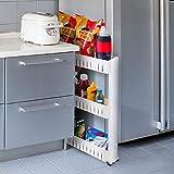 House of Quirk Slim 3-Tier Plastic Side-Storage Rack Shelf with Wheels (30 cm x 20 cm x 11 cm, White)