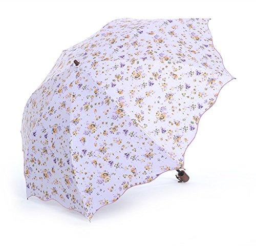 Honeystore Regenschirm 2-Falten Taschenschirm Blumen UV Sonnnenschirm Violett