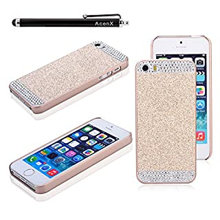 AcenX(TM) Cute Luxury Rhinestone Diamond Crystal Glitter Bling Hard Case Cover Shell Phone Back Cover for Apple iPhone6 4.7 incehs(Gold)