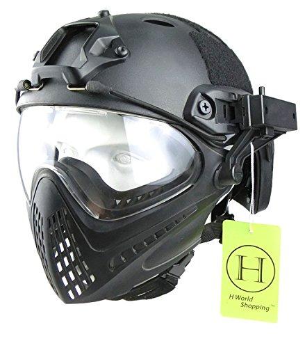 H World EU Paintball-Schutzhelm, mit integrierter Schutzbrille, Vollvisierhelm mit abnehmbarem Gesichtsschutz, Schwarz , Medium - Large