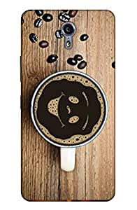 PrintHaat Designer Back Case Cover for Lenovo ZUK Z1 (coffee on table :: coffee beans on table :: smiley in coffee mug :: love coffee :: coffee with beans in brown and wood color)