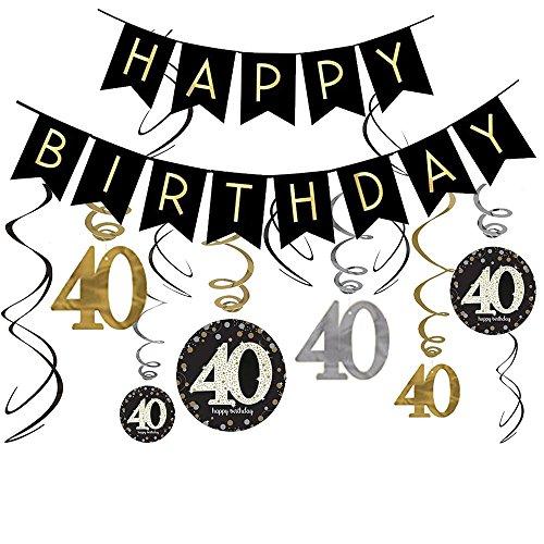 Dekorationsset zum 40. Geburtstag mit Glitzer-Banner und glitzernden Feiern zum 40. Jahrestag (Birthday Schwarz Party 40th Und Weiß Dekorationen)