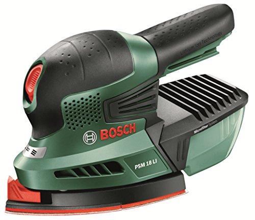 """Bosch Ponceuse multifonction """"Universal"""" sans fil PSM 18 LI outil seul sans batterie avec 3 feuilles abrasives, technologie Syneon 06033A1301"""