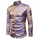 VEMOW Herbst Frühling Winter Herrenhemd Slim Fit Langarm Casual Tagesgeschäft Business Formale Taste Shirts Formale Mid-Season Top Bluse(Gold, EU-58/CN-3XL)