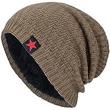 Fossen Unisex Gorra de Punto Invierno Templado Tejer Lana Sombrero para  Hombre Mujer (Khaki) c525d14a322