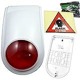 IP44 Dummy Außensirene Sirene Alarmanlage Attrappe Alarmsystem Fake blinkende LED Außen + Montagematerial + Aufkleber Set