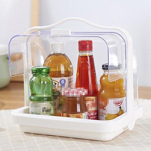 Ylxb manico in plastica con coperchio portaspezie forniture da cucina scaffale,bianca,taglia unica