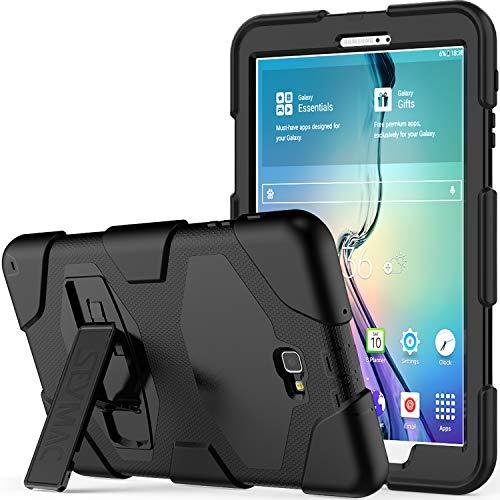 10.1 Hülle - SAYMAC Full Body Robuste-/mit Schutzhülle, Bumper-Hülle mit Ständer für 2016 Samsung Galaxy Tab A6 Tablet-/sm-t580 sm-t585, S Pen-Version Schwarz/Schwarz ()