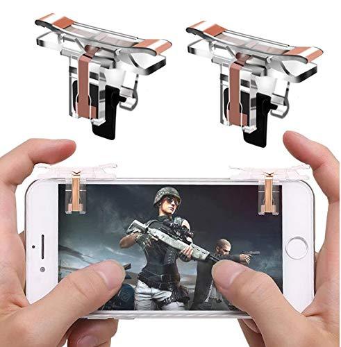 OXOQO PUBG Mando de Juegos Móvil, 2018 Mental Control de Juegos Sensitive Shoot and Aim Keys L1R1 Shooter Controller for PUBG/Fortnite/Rules of Survival for Android iOS (Actualizado Transparente)