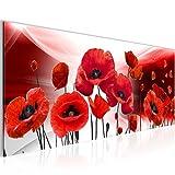 Bilder Blumen Mohnblumen Wandbild 100 x 40 cm Vlies - Leinwand Bild XXL Format Wandbilder Wohnzimmer Wohnung Deko Kunstdrucke Rot 1 Teilig -100% MADE IN GERMANY - Fertig zum Aufhängen 208912a