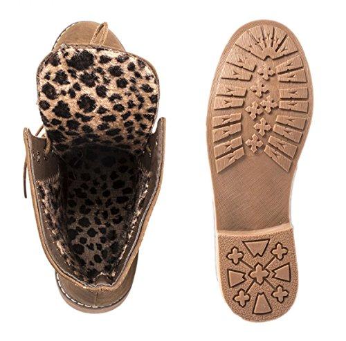 Elara Damen Stiefeletten | Bequeme Biker Boots | Lederoptik Schnürstiefeletten Khaki New Orleans