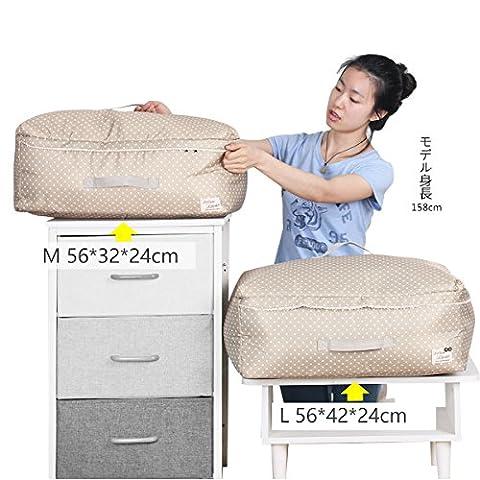 sivin Dot Beige 2Größe (L + M) dreilagige Struktur Material aus Mikrofaser Aufbewahrungstasche zusammenklappbar Organizer Tasche für kuschelige Decke Kleidung Aufbewahrung, Mikrofaser, Dot Beige, Set (1Pc L+1Pc M)