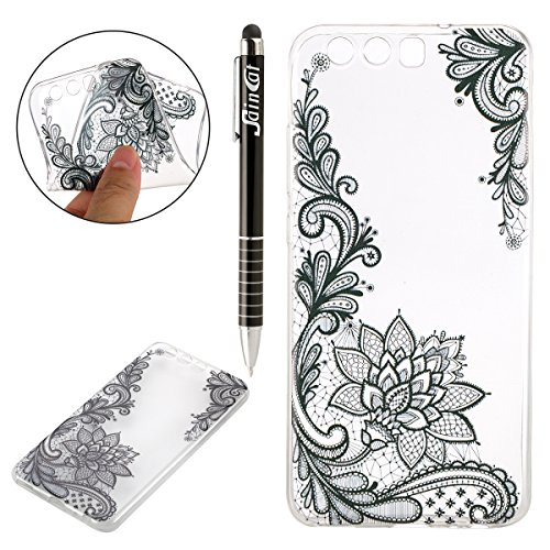 Custodia Huawei P10 Plus, Huawei P10 Plus Cover Silicone, SainCat Cover per Huawei P10 Plus Custodia Silicone Morbido, 3D Design Ultra Slim Transparent Silicone Case Ultra Sottile Morbida Transparent TPU Gel Cover Case Shock-Absorption Anti Scivolo Custodia Protettiva Crystal Clear Cover Gomma Case Caso Ultra Thin Slim Protettiva Anti-scratch Skin Shell Case Coperture Bumper Cover per Huawei P10 Plus-Fiore di Pizzo Nero