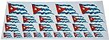 Mini Fahnen / Flaggen Set wehend - 4x 51x31mm+ 12x 33x20mm + 10x 20x12mm- selbstklebender Aufkleber - Kuba - Sticker fürs Büro, Schule und zu Hause - Set of 26