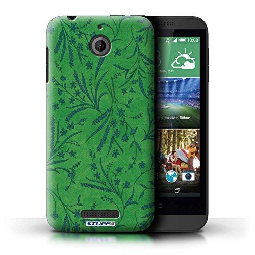 Kobalt® Imprimé Etui / Coque pour HTC Desire 510 / Violet/Rose conception / Série Motif floral blé Vert/Bleu