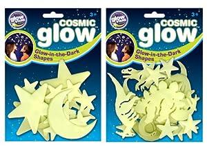 The Original Glowstars Company - Pegatinas para Pared y Cristal Dinosaurios (Brainstorm) Importado de Inglaterra