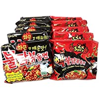 Samyang Top Two Spicy Pollo Caliente Ramen Fideos Buldak Variedad 10 Pack (5 Cada uno: Hek Nuclear, Original), 4 Sets(10 Pack)