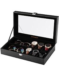 LANGRIA Caja para Relojes Piel Sintética de 8 Compartimentos con 6 Cojines Extraíbles y 2 Compartimentos para Accesorios Interior Aterciopelado Tapa de Cristal Cierre Metálica (Negro/Interior Negro)