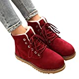 TianWlio Stiefel Frauen Herbst Winter Schuhe Stiefeletten Boots Lässige Warme Baumwollschuhe Flache Schuhe mit Schnürstiefeln Schnürstiefel rot 36