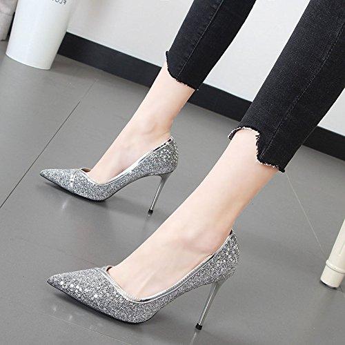Xue Qiqi stilvolle high-heel Schuhe weiblichen 亮 High Heels mit feiner Spitze mit Mutter der Braut Hochzeit Schuhe weiblich, 37, Silber - Stilvolle Mutter Der Braut