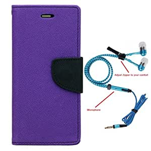 Aart Fancy Diary Card Wallet Flip Case Back Cover For Samsung J2-(Purple) + Zipper earphones/Hands free With Mic *Stylish Design* for all Mobiles By Aart store