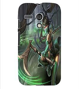 ColourCraft Warrior Girl Design Back Case Cover for MOTOROLA MOTO G