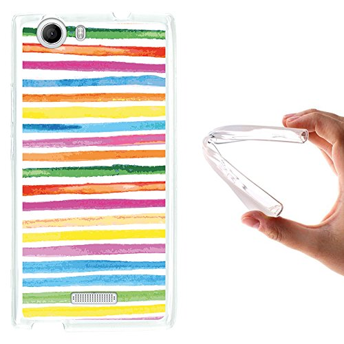 WoowCase Wiko Ridge 4G Hülle, Handyhülle Silikon für [ Wiko Ridge 4G ] Aquarell- farbige Streifen Handytasche Handy Cover Case Schutzhülle Flexible TPU - Transparent
