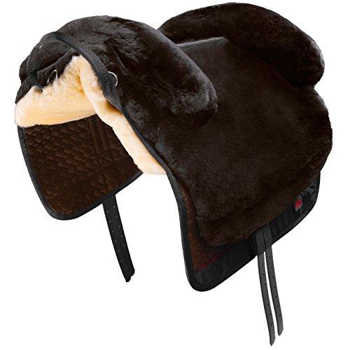 CHRIST Fellsattel IBERICA Plus baumloser Lammfellsattel im spanischen Stil, Bare-Back-pad, Pferde-Sattel aus echtem Lammfell in Gr. Warmblut, Fell in braun