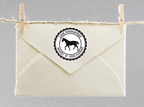 Personalisierter Stempel mit Namen & Adresse Individueller Rund mit Pferd Motive