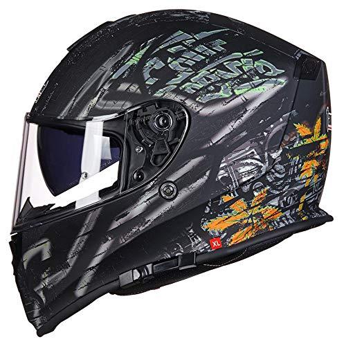 ZXLO Casco Modulare Integrato, Casco da Motociclista Casco da Corsa Bluetooth, Casco Flip Up O Visiera A Doppia Faccia con Visiera Doppia (Sistema FM Radio con Microfono Integrato),3,M