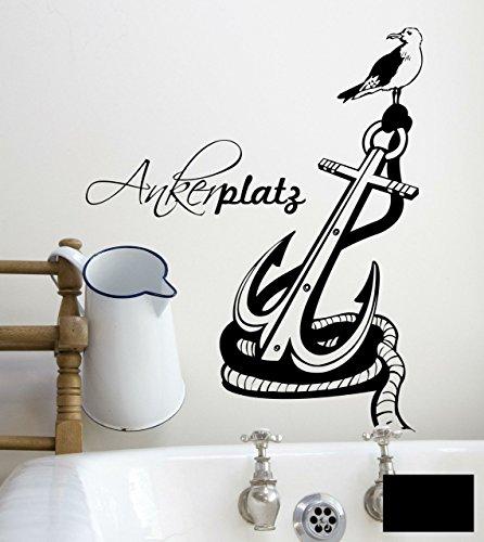 Wandtattoo Ankerplatz Anker maritim zuhause M1472 - ausgewählte Farbe: *Schwarz* ausgewählte Größe: *M 70cm breit x 100cm hoch