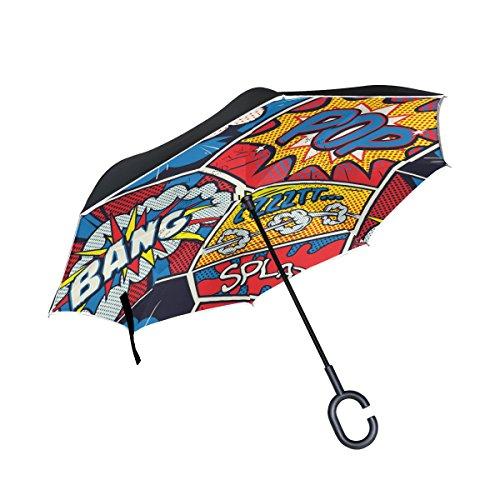 ALAZA Doble Capa invertido Paraguas Coches inversa Paraguas Retro del Arte Pop cómico Prueba a Prueba de Viento UV Viaje Paraguas al Aire Libre
