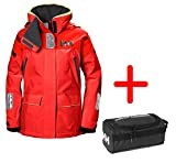 Sport-Outdoorkleidung Helly Hansen Segeljacken für Frauen W Skagen Offshore Jacket Atmungsaktiv - Red Alert Gr. S - Set inkl. Washbag