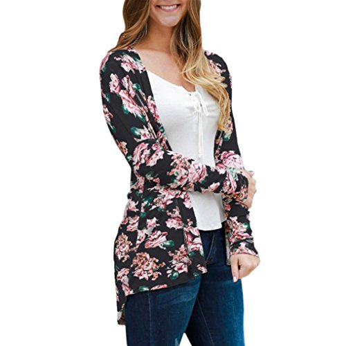 YunYoud Frau Blumen Cape öffnen Lässiger Mantel Lose Bluse Kimono Jacke Strickjacke (XL, Schwarz) (Bluse, Salbei)