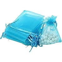 SXUUXB 100 PCS 13x18cm Bolsas de regalo de organza, Bolsos de lazo de Organza Jewelry Pouches Wrap para la fiesta de la boda de Navidad(blue 1)