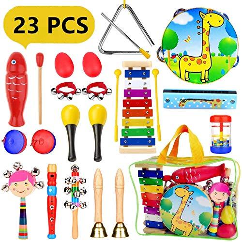 Pachock strumenti musicali per bambini, 23pcs giocattolo in legno, set di percussioni per bambini e bambine regali di compleanno con borsa per il trasporto