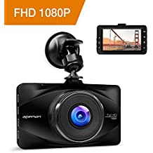 APEMAN Full HD 1080P Dashcam Autokamera Video Recorder mit 170° Weitwinkelobjektiv, 3 Zoll LCD-Bildschirm, WDR, Bewegungserkennung, Parkmonitor, Loop-Aufnahme, Nachtsicht und G-Sensor