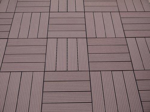 Gartenfreude EVERFLOOR WPC (=Holz/Kunststoff-Gemisch) Terrassenfliesen Massivprofil, Braun, 10 Stück, 30 x 30 cm (ca. 0,9m2) -