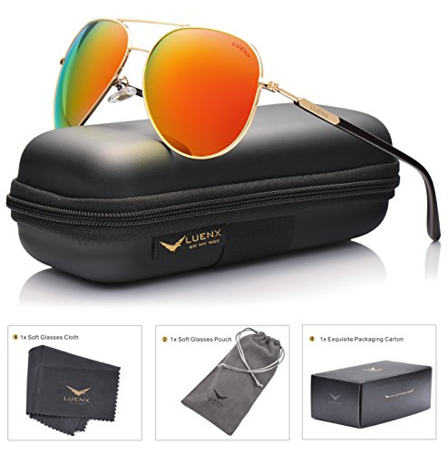LUENX Aviator Mens Sunglasses Polarized Mirrored Womens with Case - UV 400 Protection Orange Lens Gold Frame 60mm