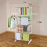 Mobiler Wäscheständer klappbar Wäschetrockner-Turm Seitenflügel auf 3 oder 4 Ebenen