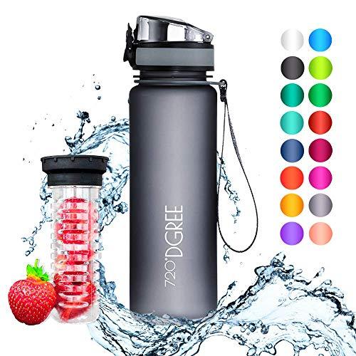 """720°DGREE Trinkflasche \""""uberBottle\"""" - 500 ml, 0,5 l, Grau - Neuartige Tritan Wasser-Flasche - Water Bottle BPA Frei - Ideale Sportflasche für Kinder, Fitness, Fahrrad, Sport, Fussball"""