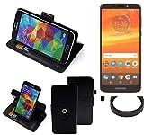 K-S-Trade® Hülle Schutzhülle Case für Motorola Moto E5 Plus Dual-SIM + Bumper Handyhülle Flipcase Smartphone Cover Handy Schutz Tasche Walletcase schwarz (1x)