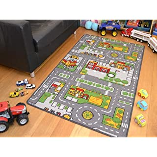 A2Z 4 Kids® Childrens Large Machine Washable Non-Slip Play Mats. Size 80cm x 120cm (Grey Roads)