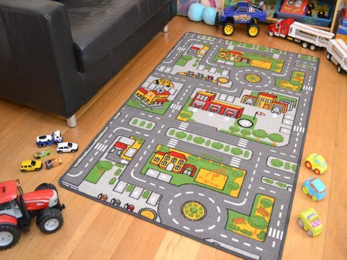 Preisvergleich Produktbild Childrens Large Grey Roads Play Mat. Size 80cm x 120cm by A2Z 4 Kids®