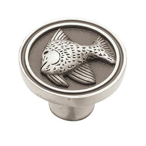 Franklin Messing pbf659-bsp-c135mm Angel Fisch Küche Hardware-Kabinett Knauf, Brushed Satin Pewter, (Brushed Pewter Knob)